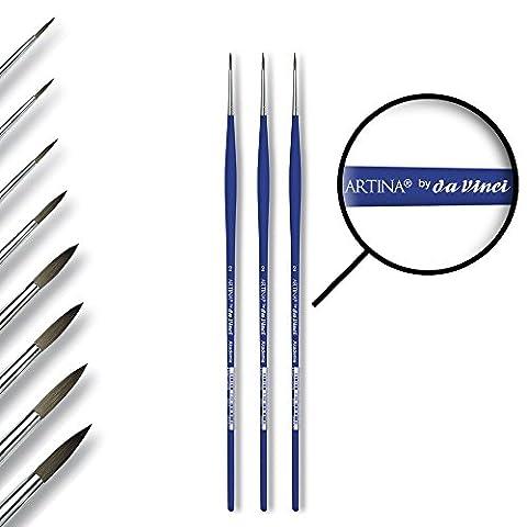 Lot de 3 pinceaux ronds Artina da Vinci Akademie Serie 5010 - poils synthétiques et virole sans soudure - Rond taille 2