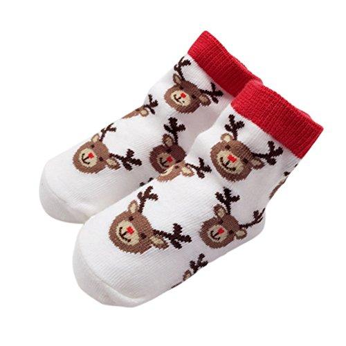 PanDaDa Baby Kinder Kleinkinder Mädchen Weihnachten Santa Deer Print Baumwolle Rüsche Crew Socken (Santa Claus Anzüge Für Verkauf)