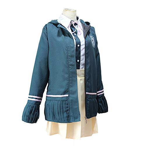 School Junge Kostüm Uniform - Vokaer Super Dangan Ronpa Cosplay mit Kapuze Kostüme Chiaki Nanami High School Mädchen Sailor Dress Shirts Uniform,Blau,M