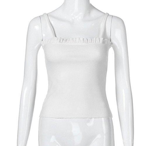 LONUPAZZ Chemisier Courte Femme Débardeurs Ruffles Bretelle Chemise Blouse sans Manches Tops Veste Tank Tops Camis Blanc