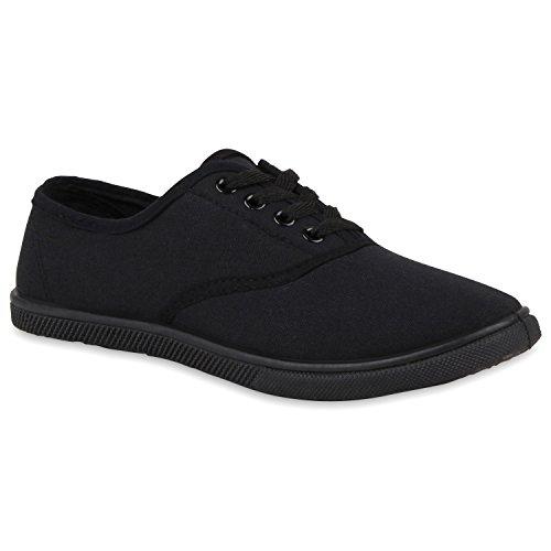 Damen Sneakers Blumen Basic Sneaker Low Freizeit Schnürer Stoff Schnür Flats Schuhe 112823 Schwarz 36 Flandell
