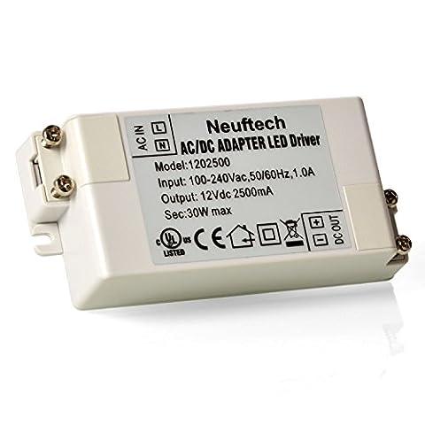 Neuftech® 12V 2,5A 30W AC/DC LED Driver LED Transformateur Convertisseur