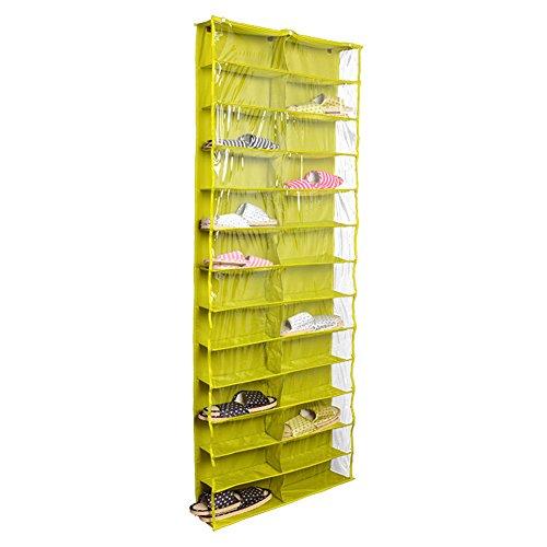 milopon-Zapatero Plástico Pared colgantes Zapatos bolsillos Colgante Puerta escritorio Bolsa hängeorganizer con 3ganchos 24bolsillos, verde, 56*15*160CM