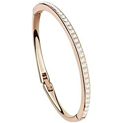 Silver Shoppee Gorgeous 21K Rose Gold Plated Cubic Zirconia Studded Alloy Bracelet for Girls and Women