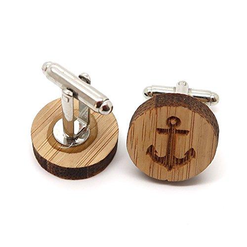 BOBIJOO Jewelry - Paar Manschettenknöpfe aus Holz Natur-Anker-Marine-Symbol Zubehör Mann