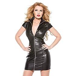 DuuoZy Imitación de cuero de las mujeres de Bodycon del vestido del club nocturno atractivo del partido del frente de la cremallera de la chaqueta de manga corta , black , l