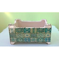 Diseño de cerámica maceta de cerámica Vintage Boho Estilo envejecido pequeña maceta de rectangular