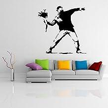 (60 x 59 cm) de la pared del vinilo adhesivo protesta Banksy Flower Thrower/calle wallkraft grafiti decor/bricolaje extraíble burrda Mural + regalo gratis al azar TecGadgets
