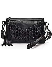 19e5cf439 Mishuo Mujer Bolsos Pequeños Negros Envelope Clutch Bandolera Hombro  Carteras de Mano Carteras Monederos Fiesta Vestir