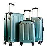 Koffer & Reisekoffer mit 4 Doppelrollen & Teleskopstange mit TSA-Schloss - Hartschalenkoffer (Light Green, Set)