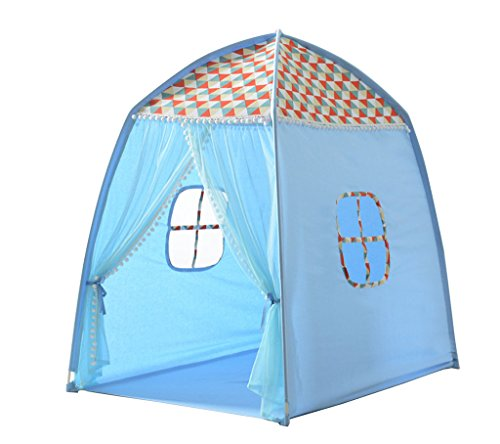 Zhao Kind-Zelt, Innenschlafzimmer-Rosa-Blaue Spitze-Spiel-Haus-Spielzeug-Speicher-Raum-im Freien tragbares Spiel-Haus-Zelt 70 * 110 * 120CM (Farbe : Blau)