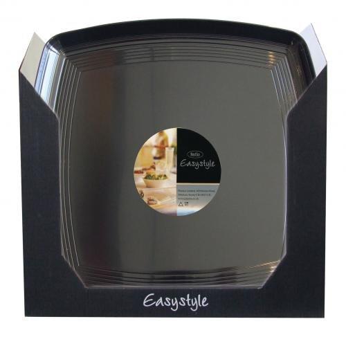 Plastico R1006bl carré Plastique Platters-customer écran U, Noir (Lot de 36)