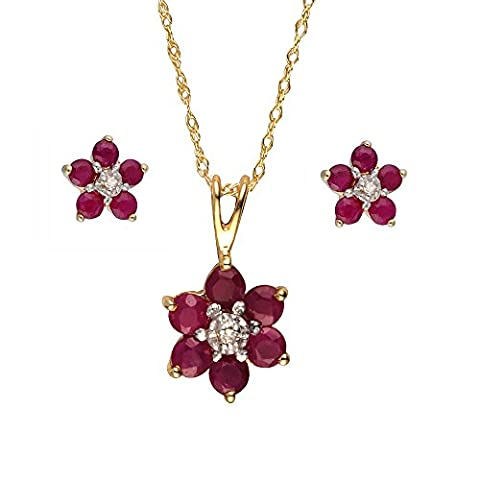 Ivy Gems 9ct Yellow Gold Ruby and Diamond Cluster Earring and Pendant Jewellery Set with 46cm Chain