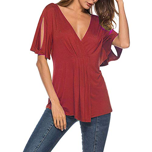 CAOQAO Womens Deep V Neck Bluse Kalte Schulter Sexy WunderschöNe Rosenmuster Tops Kurzarm Sommer ()