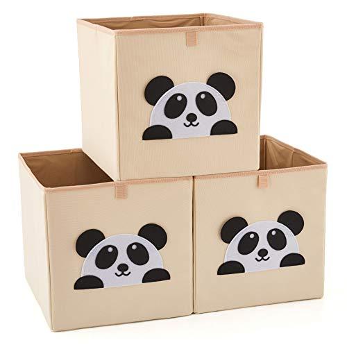 EZOWare Boîtes de Rangement Ouvertes en Textile Non-Tissé, Cube, Carré, Pliable, Tiroir en Tissu, Pack de 3, (33 x 38 x 33 cm) Pour enfants, bébé jouets, livres, puzzles, habits - Panda