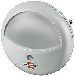 Brennenstuhl LED Nacht-/Orientierungslicht rund (mit Dämmungssensor für die Steckdose, sanftes und unaufdringliches Licht, mit 2 LEDs) weiß