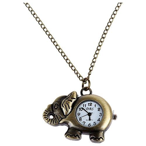 SODIAL(R) 40 x 31 mm Reloj de bolsillo Reloj de collar Elefante de bronce