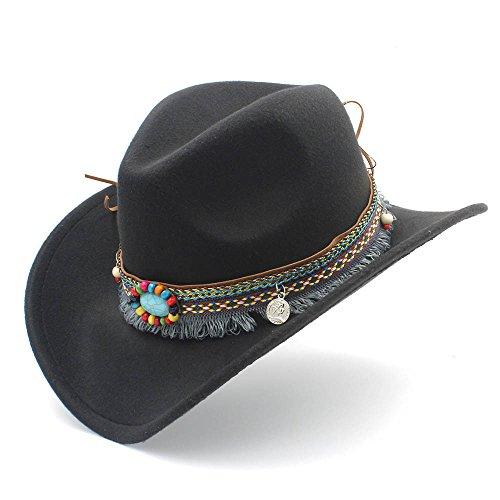 CSNMALL Stilvoller Cowboy-Hut Quaste Dekorative Band 9 Farben Zur Auswahl (Farbe : Schwarz, Größe : 56-58CM)