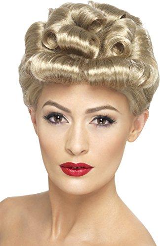 Smiffys Damen 40er Jahre Hochsteck Frisur mit Locken Perücke, Vintage Perücke, Blond, One Size, (Perücken Vintage)