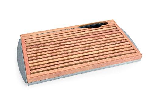 Brotschneidebrett - mit Edelstahl-Krümmschale und Brotmesserschlitz, Lieferung erfolgt inkl. Brotmesser/Abmessung: 47 x 25,5 x 3,5 cm (Brotschneidebrett)