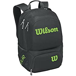 Wilson Tour V Backpack Medium Bkli, Mochila Unisex Adulto, Negro (Black/Lime), 36x24x45 cm