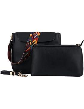 Damen Reißverschluss Bucket Handtasche Schultertasche Flip Cover
