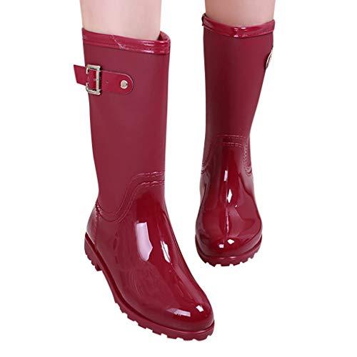 Haludock Waterproof Punk Style Mid Schneeschuhe Damen rutschfeste Regenstiefel Outdoor Gummi Wasserschuhe (Mädchen Stiefel Hunter Regen)