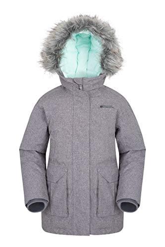 Mountain Warehouse Freeze Over Gefütterte Kinde -Daunenjacke - Winterjacke,Wasserfeste & Warme Regenjacke mit Kapuze, Jungen, Mädchen, Kinderjacke Dunkelgrau 140 (9-10 Jahre)