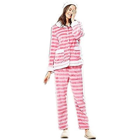 LIUDOURebeca Linda gruesa franela pijamas ropa de otoño invierno de las mujeres , pink , xl