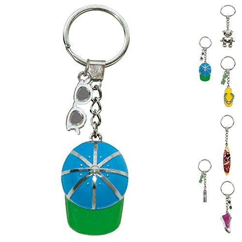 ebos Schlüsselanhänger ✓ aus Metall ✓ Accessoire |FOB Key | Sommer | Wasser (Cap / Blau, Grün) (Anhänger Cap)