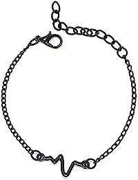 55234c4c5713 SODIAL Latido del Corazón Sencilla Pulsera ECG Pulsera para Mujer Regalo de  Fiesta Joyas de Moda