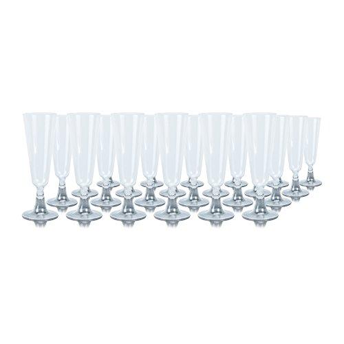 essential housewares Lot de 24 flûtes/verres à champagne en plastique transparent 150 ml