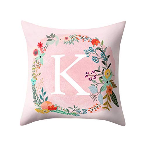 Amphia - Rosa Pfirsich-Veloursleder-Kissenbezug des englischen Alphabets - Englisch Alphabet Kissen Druck Kissen Blume Kissenbezug Raumdekoration(45cm×45cm) -