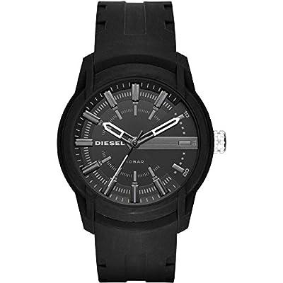 Diesel Relojes armbar negro silicona 3-Hand reloj