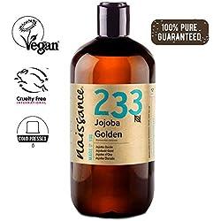 Naissance Aceite Vegetal de Jojoba Dorada n. º 233 - 500ml - Puro, natural, prensado en frío, vegano, sin hexano y no OGM - Humecta y equilibra la piel, hidrata el cabello y todo el cuerpo.