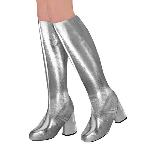 Kostüm Silber Stulpen - Amakando Disco Gamaschen Überziehschuhe / Silber / Stulpen Fake-Lackstiefel / Glanzpunkt zu Fastnacht & Karneval