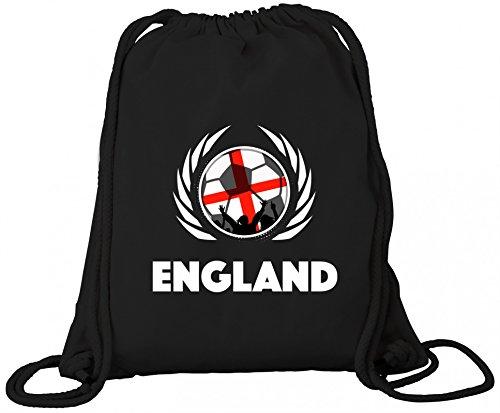 Wappen World Cup Fussball WM Fanfest Bio Baumwoll Turnbeutel Rucksack Gym Bag Fußball England Black