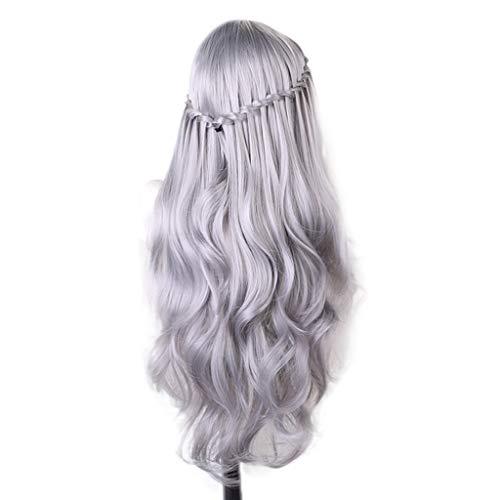 Perücke Wig Damen Braun Grau Silber Hair Langhaar Curly Cosplay Locken Lockige Lang Wavy Party Synthetic Brazilian Human