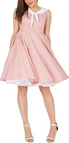 'Clio' 50's Polka-Dots Kleid mit besetztem Ausschnitt - 5