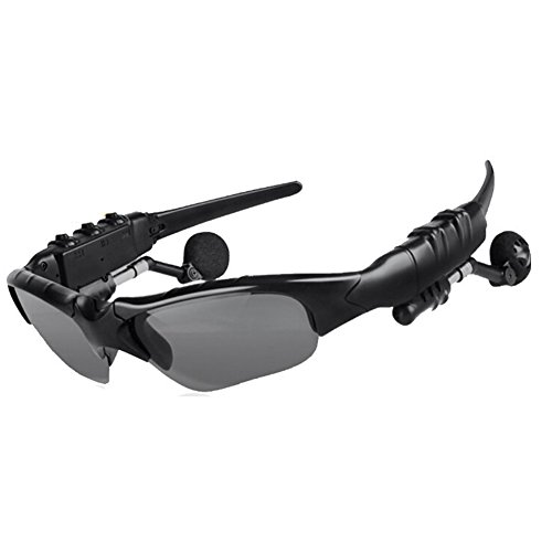 Sonnenbrille mit Funk-Kopfhörer Bluetooth v4.1Stereo Hände frei drehbar Gläser Objektiv und Kopfhörer für Fahrer und Sport Fan, schwarz