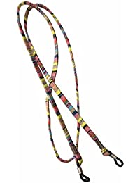 NEW Beige Multi Coloured Weave Sunglasses / Glasses Spectacle Flat Strap Cord Holder