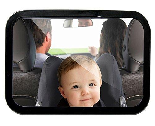 GHB Espejo Retrovisor Bebé Espejo de Asiento Trasero Espejo de Coche para Ver Bebe para los asientos de niños hacia atrás - Negro