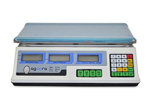 Descripción de Balanza Escala Digital 40kg:  Es una opción ideal para el pesaje de las cosas tales como verduras, frutas, monedas y objetos empaquetados de hasta 40 kg. Dispone de doble pantalla, una del lado comprador y otra del lado vendedor.Gracia...