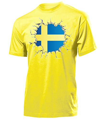 Schweden Sverige Sweden Fan t Shirt Artikel 5802 Fuss Ball EM 2020 WM 2022 Team Trikot Look Flagge Fahne Jersey World Cup Männer Herren Jungen S