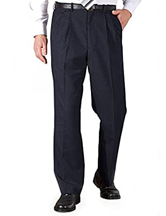 Chums Mens Poly Viscose Pleated Trouser With Extra Stretch Waistband Navy 32W x 27L