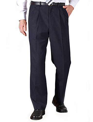 Mens Poly Viscose Pleated Trouser With Extra Stretch Waistband Navy 40W x 29L