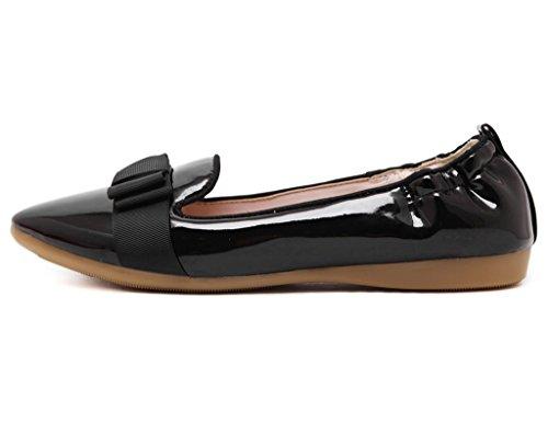 Fortuning's JDS Soft-soled Doux bowknot Casual Chaussures plates élégantes Noir