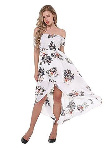 Women's Summer Short Sleeve Floral Print Off Shoulder Maxi Dress