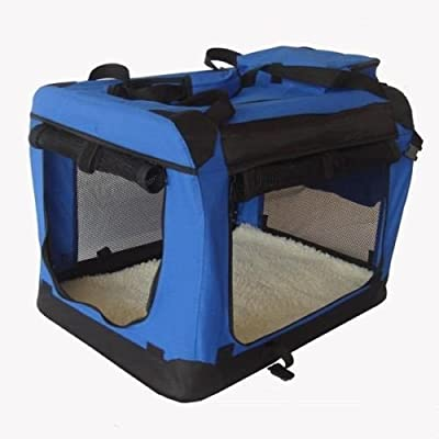 Pet Zone Fabric Pet Crate Kennel Blue Pet Carrier With Free Fleece
