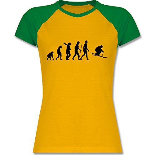Evolution - Skiabfahrt Evolution - zweifarbiges Baseballshirt / Raglan T-Shirt für Damen Gelb/Grün